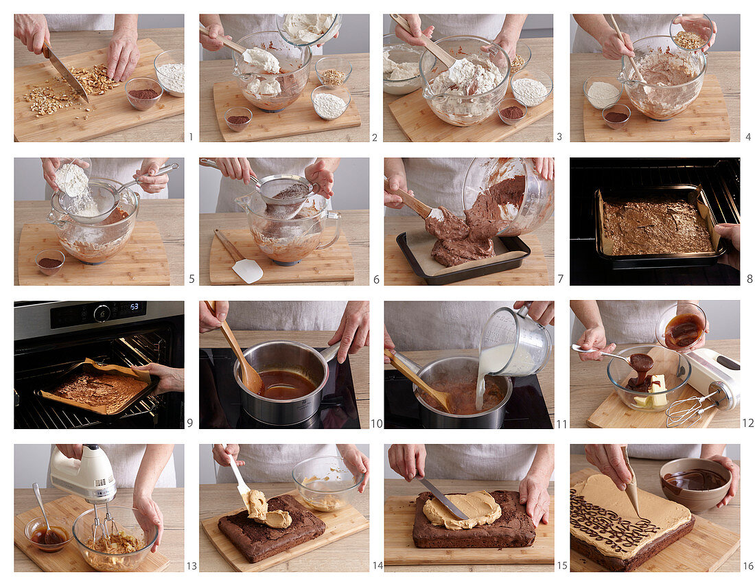 Preparing caramel brownies with walnuts