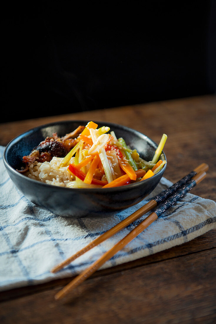 Chinese vegetable and duck stir fry