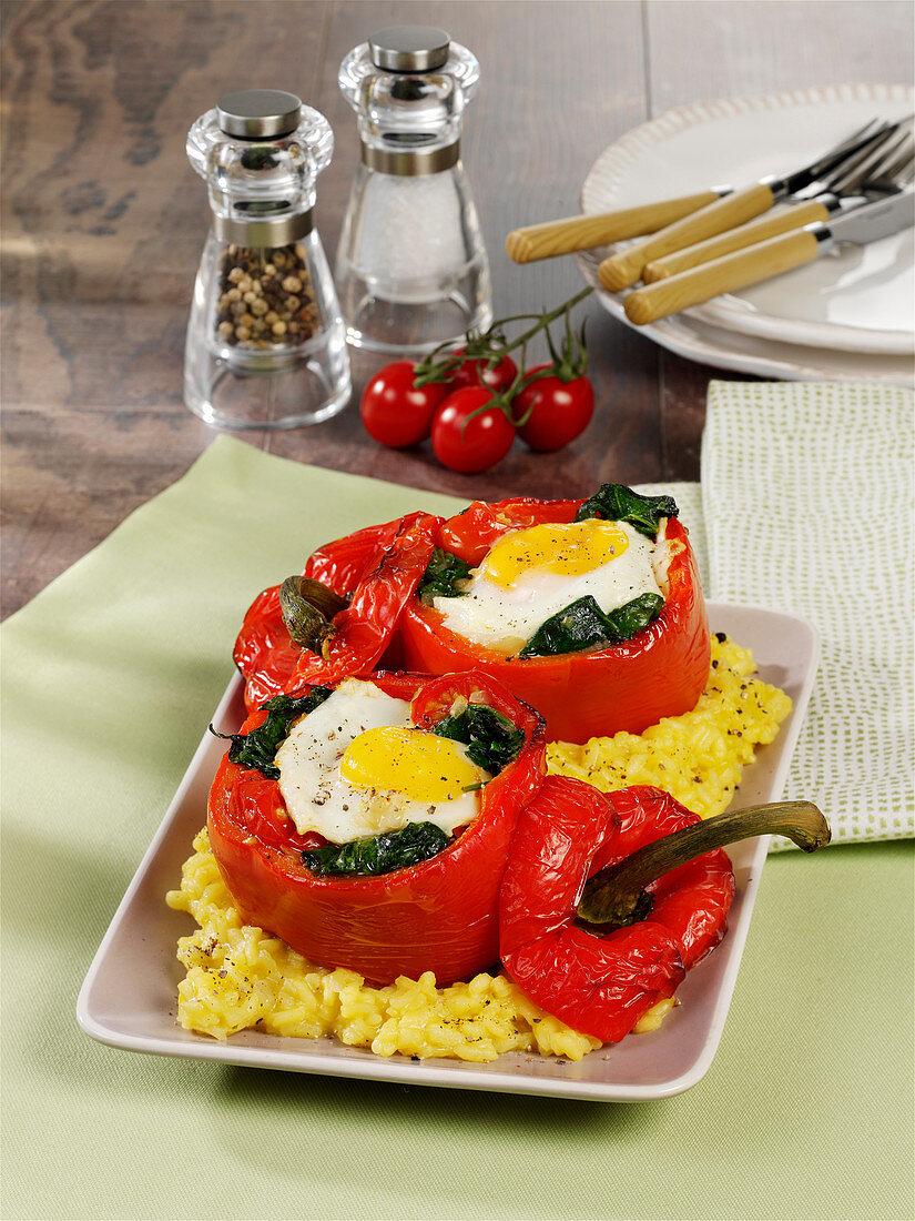 Gefüllte Paprika mit Ei und Spinat