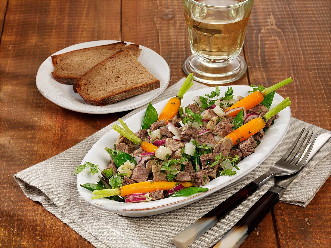 Warm ox brisket salad
