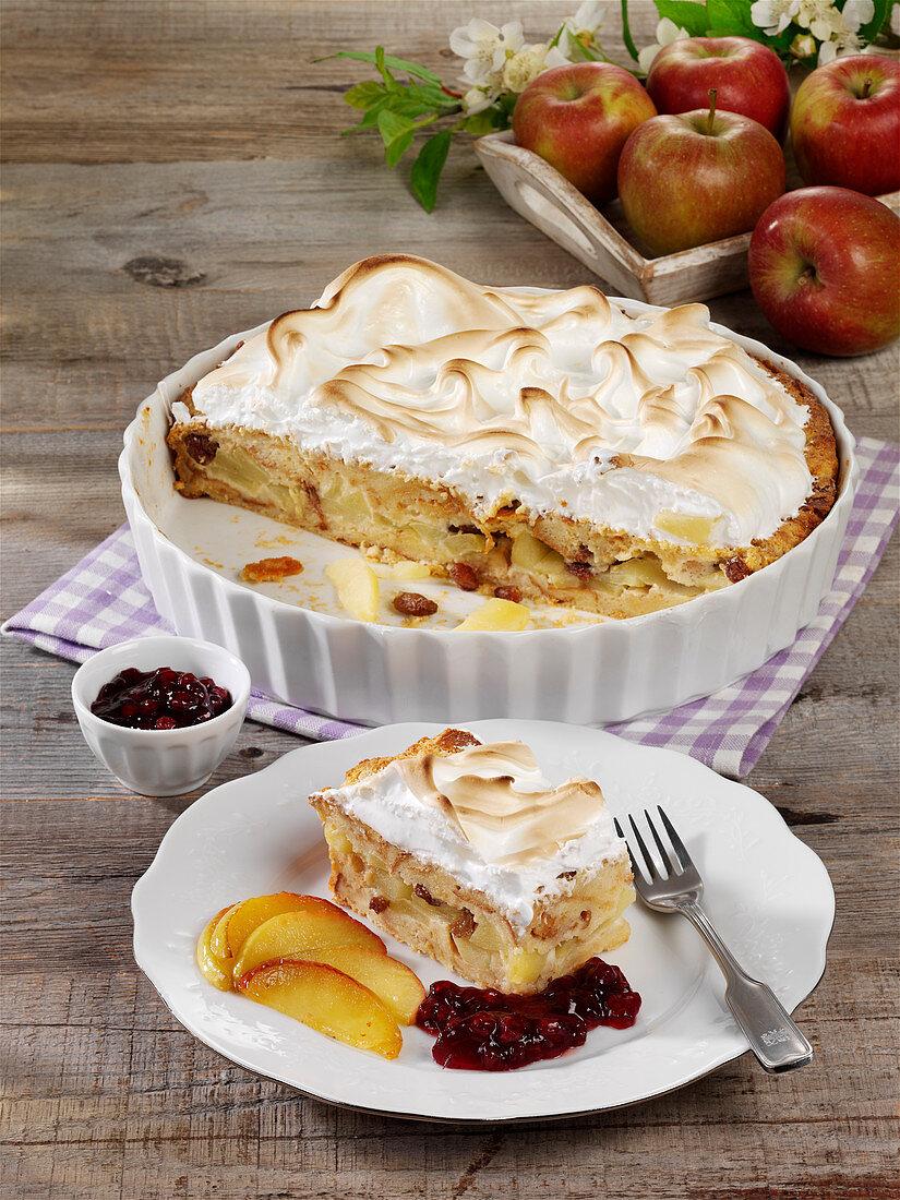 Scheiterhaufen (bread bake with apples, cinnamon, raisins and almonds) with a meringue topping