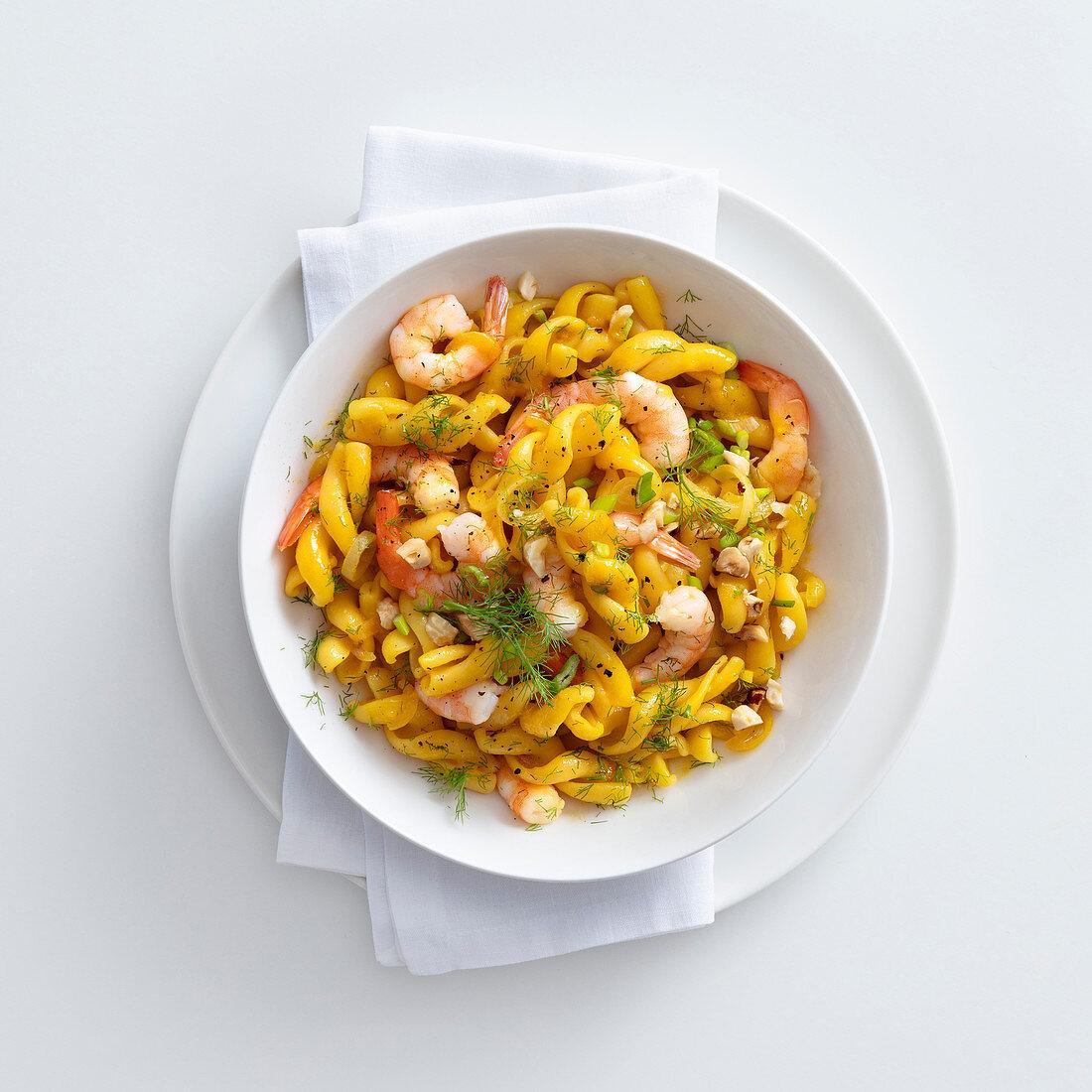 Fusilli with prawns