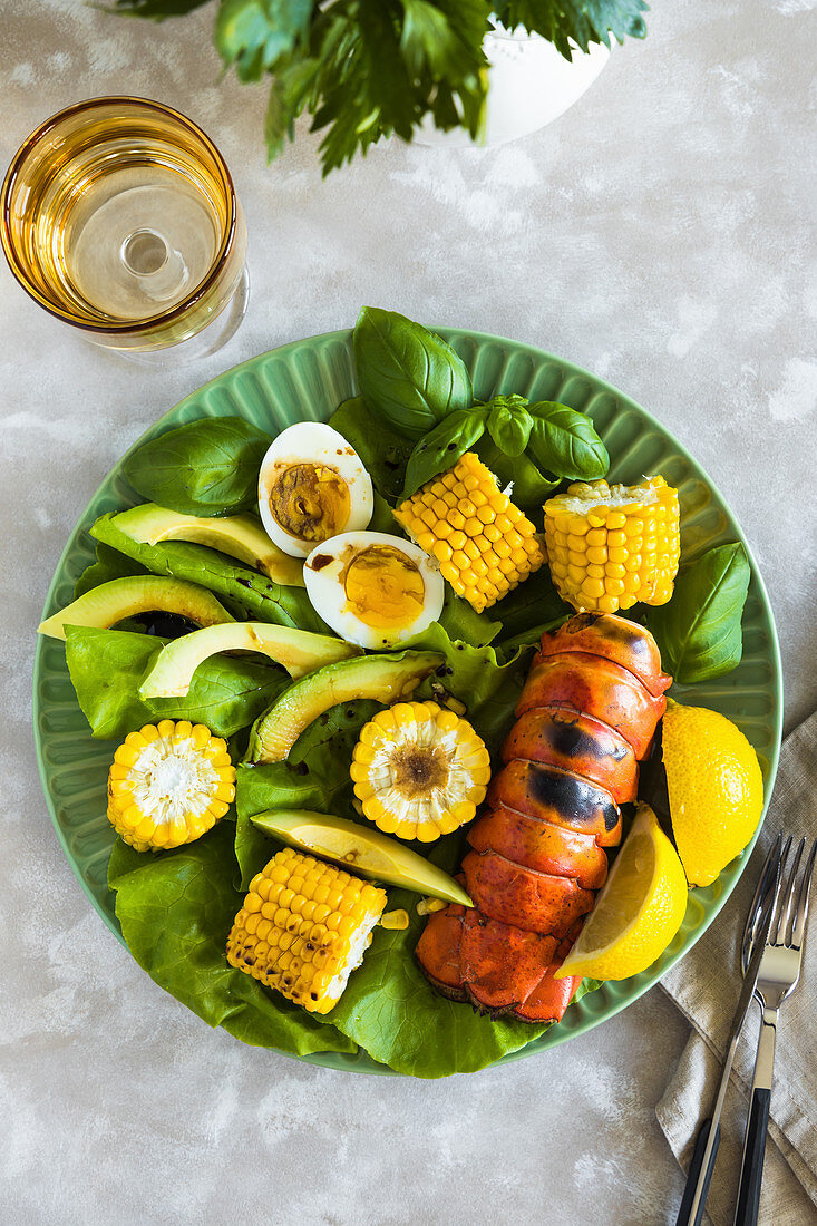 Grilled lobster, corn and avocado salad