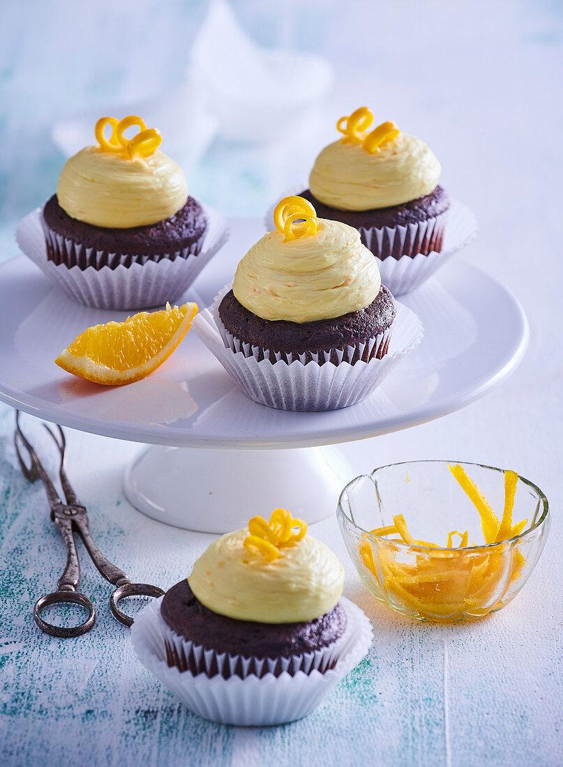 Orange and chocolate cupcakes