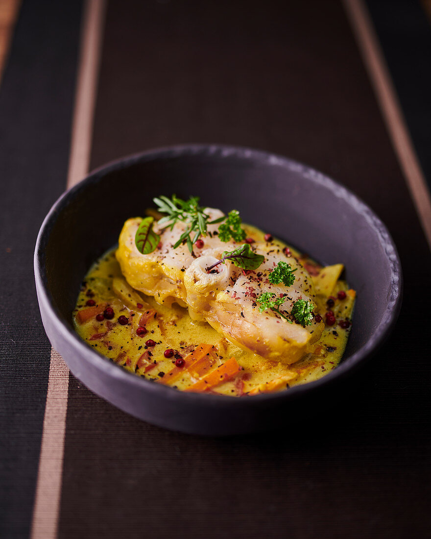 Monk fish with coconut and pink pepper
