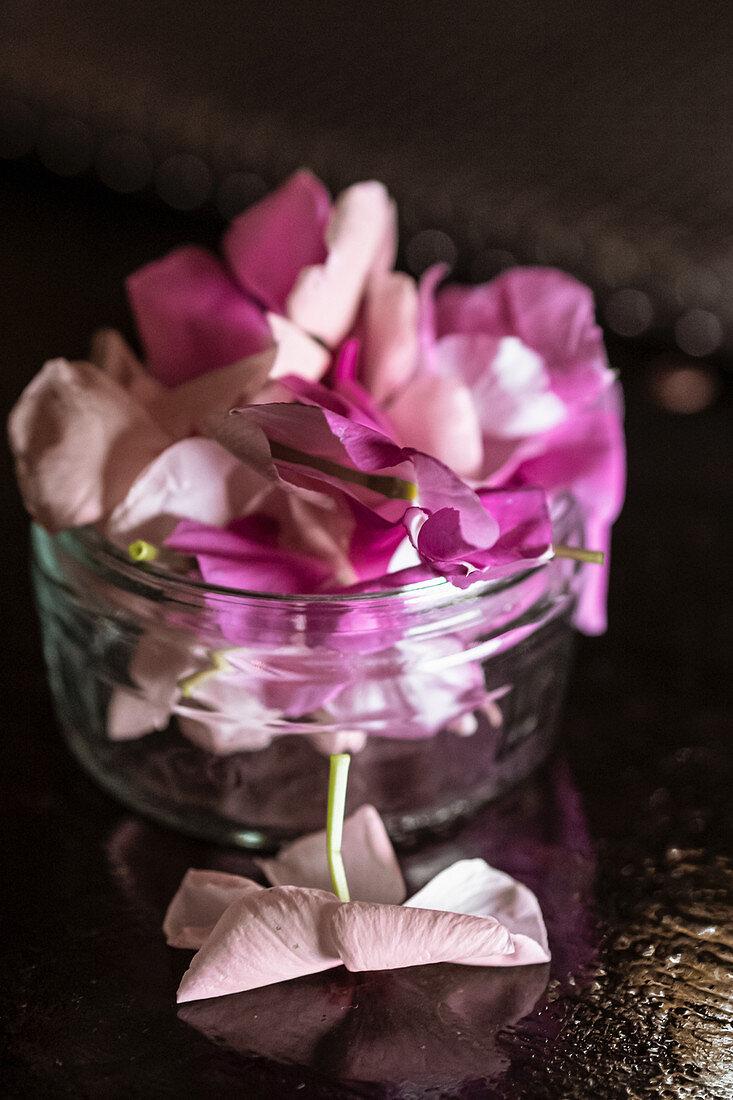 Heap of fresh flower petals placed inside glass jar on table in dark room