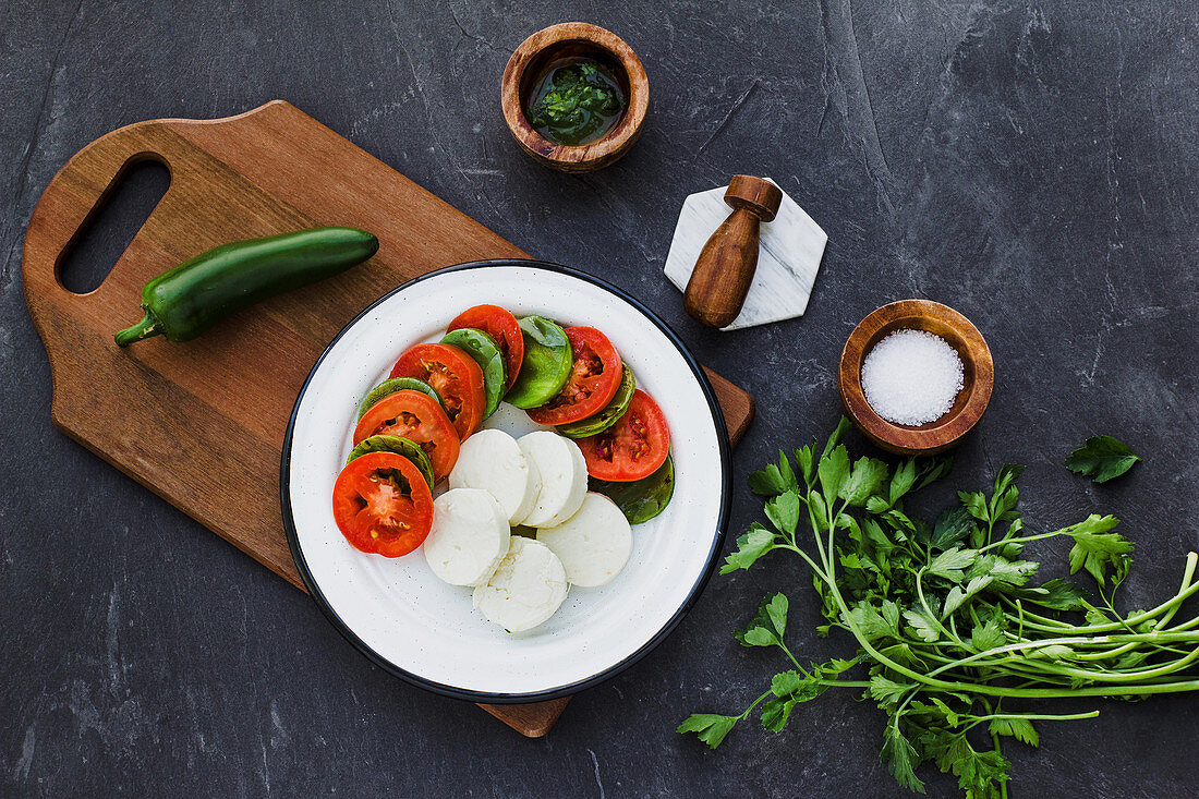 Diet caprese salad with jalapeno pepper