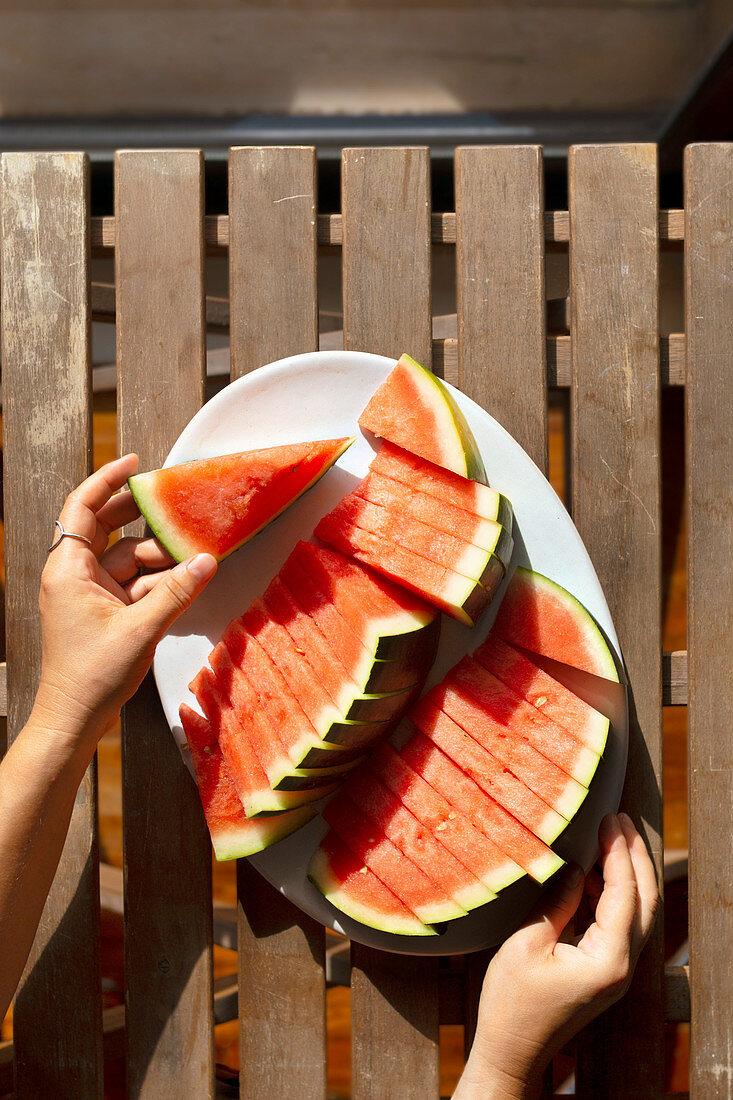 Sliced watermelon on a plate