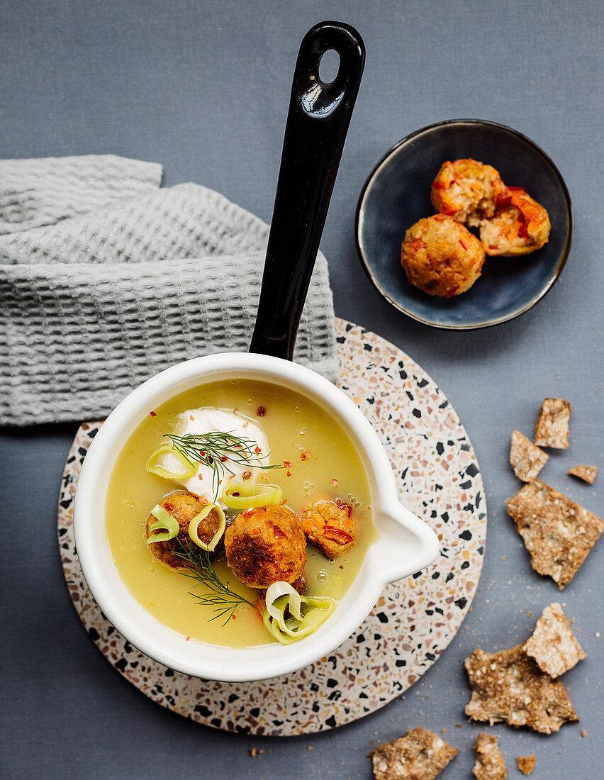 Swedish potato soup with vegetable balls