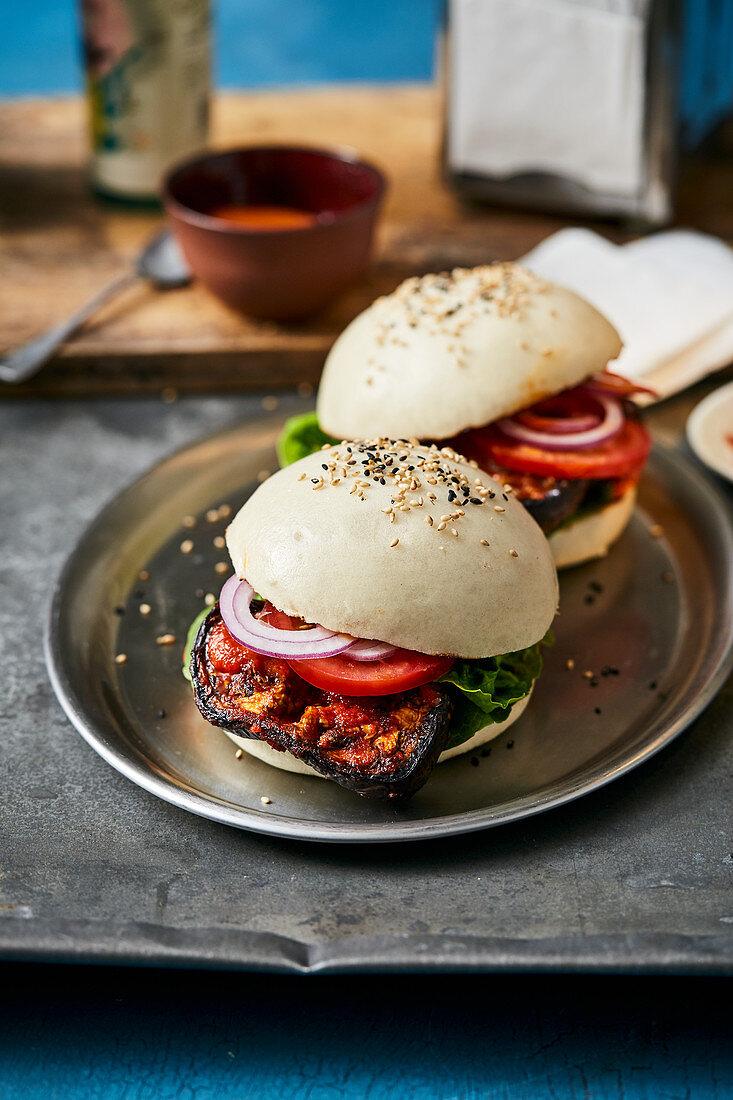 Aubergine and bulgogi burger in a rice flour bun with chilli mayonnaise