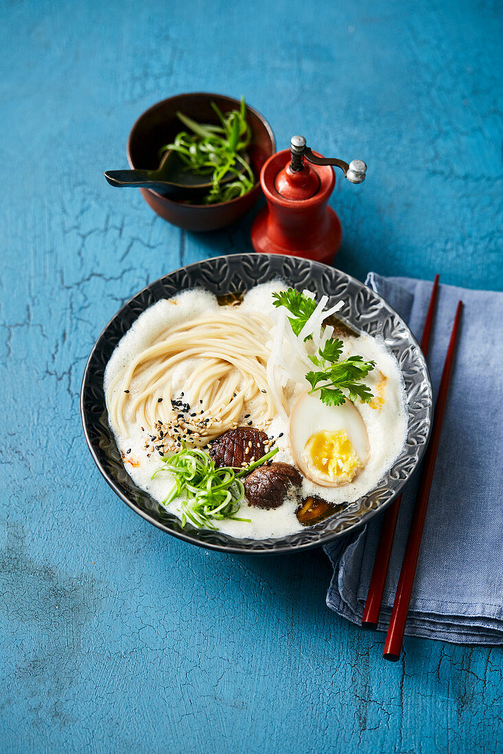 Ramyun soup with soya milk, shoyu egg and shiitake mushrooms (Korea)