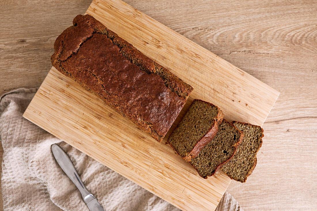 Homemade hazelnut and almond keto bread