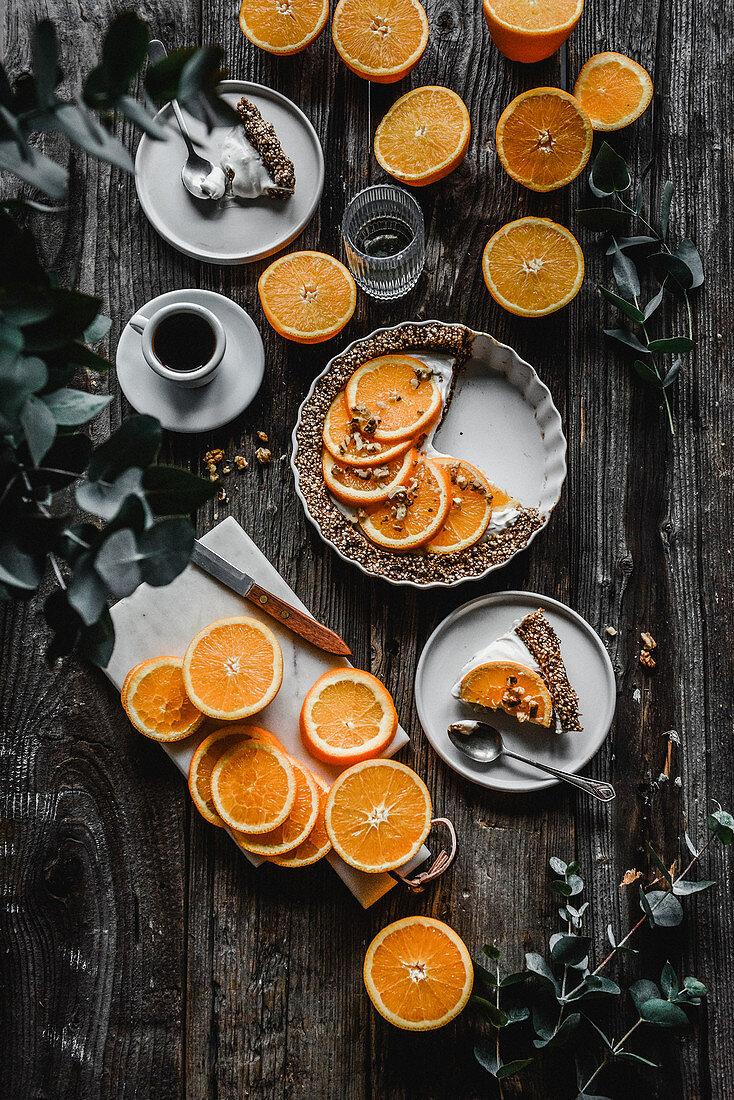No baking tart with cream and oranges