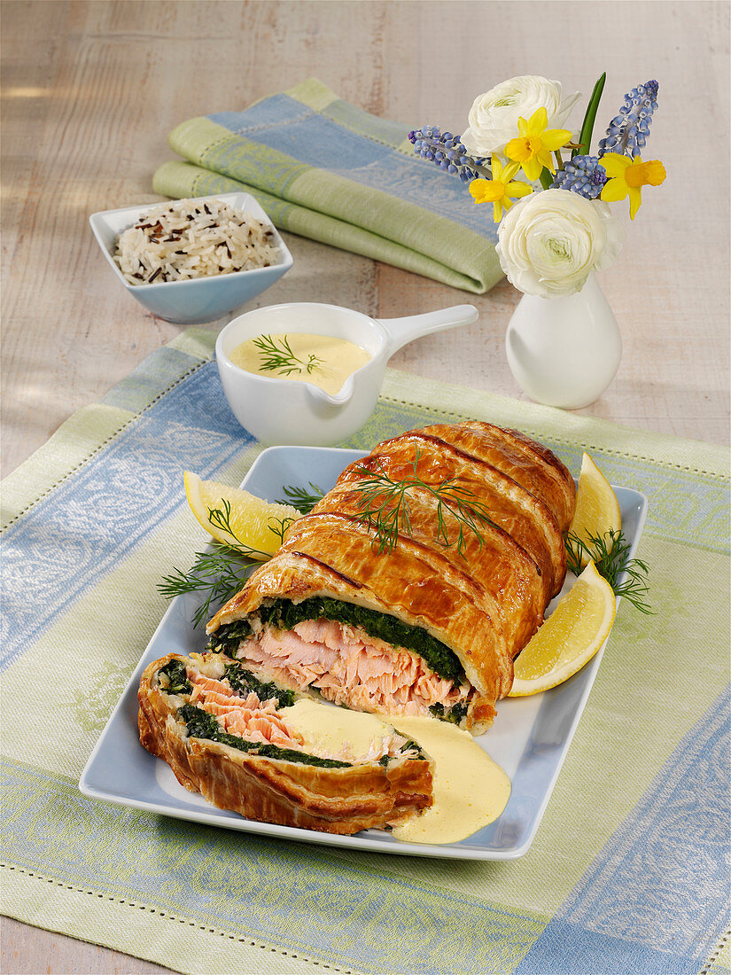 Whole salmon in pastry crust