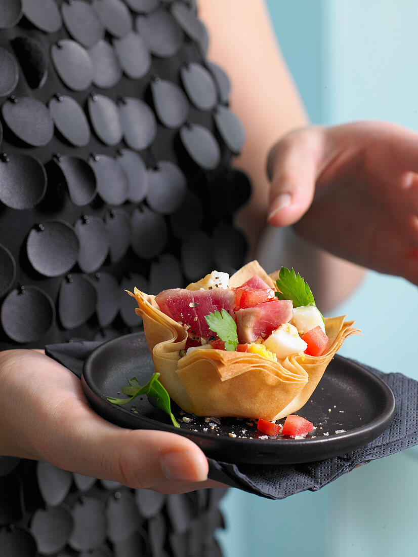 Filo pastry and tuna tartlets