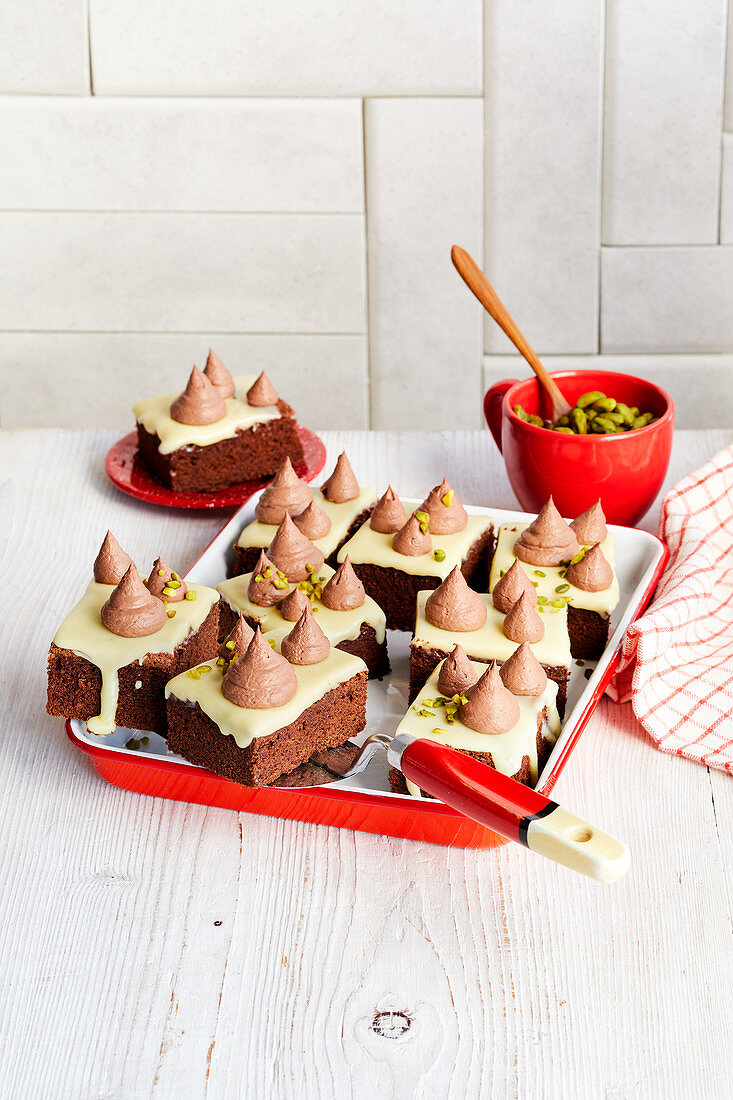 Chocolate mousse slices with coffee
