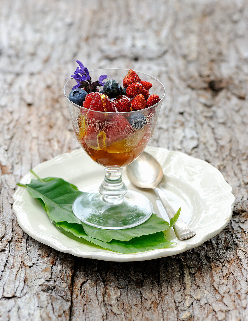 Wild berry salad in a glass