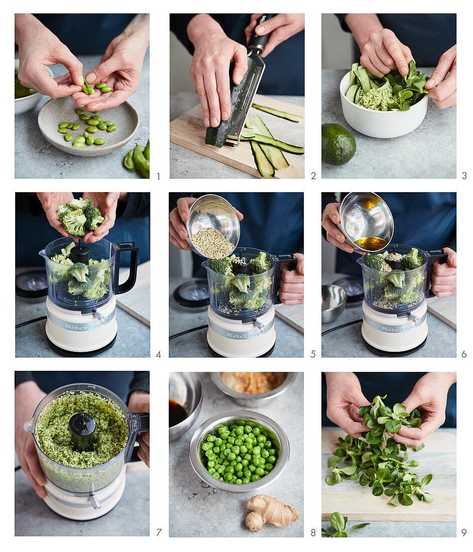 Prepare a green food bowl