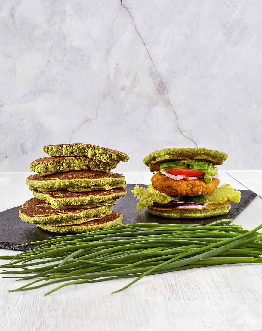 Buckwheat and chive pancakes and buckwheat burgers