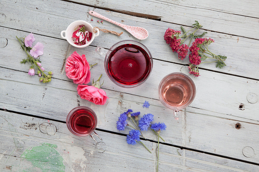 Flower tea with roses, yarrow, mallow and cornflower