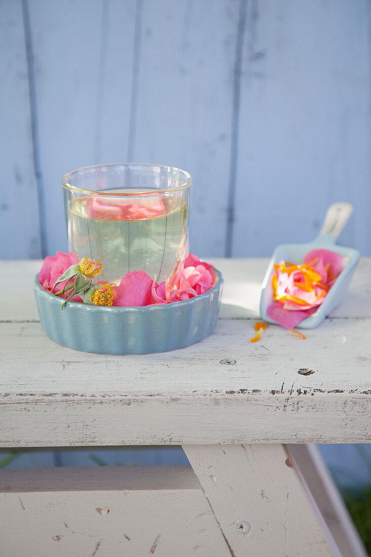 Nerve tea with rose petals