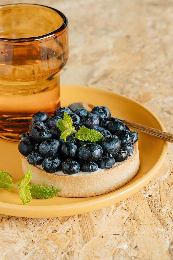 Blueberry and vanilla custard tart