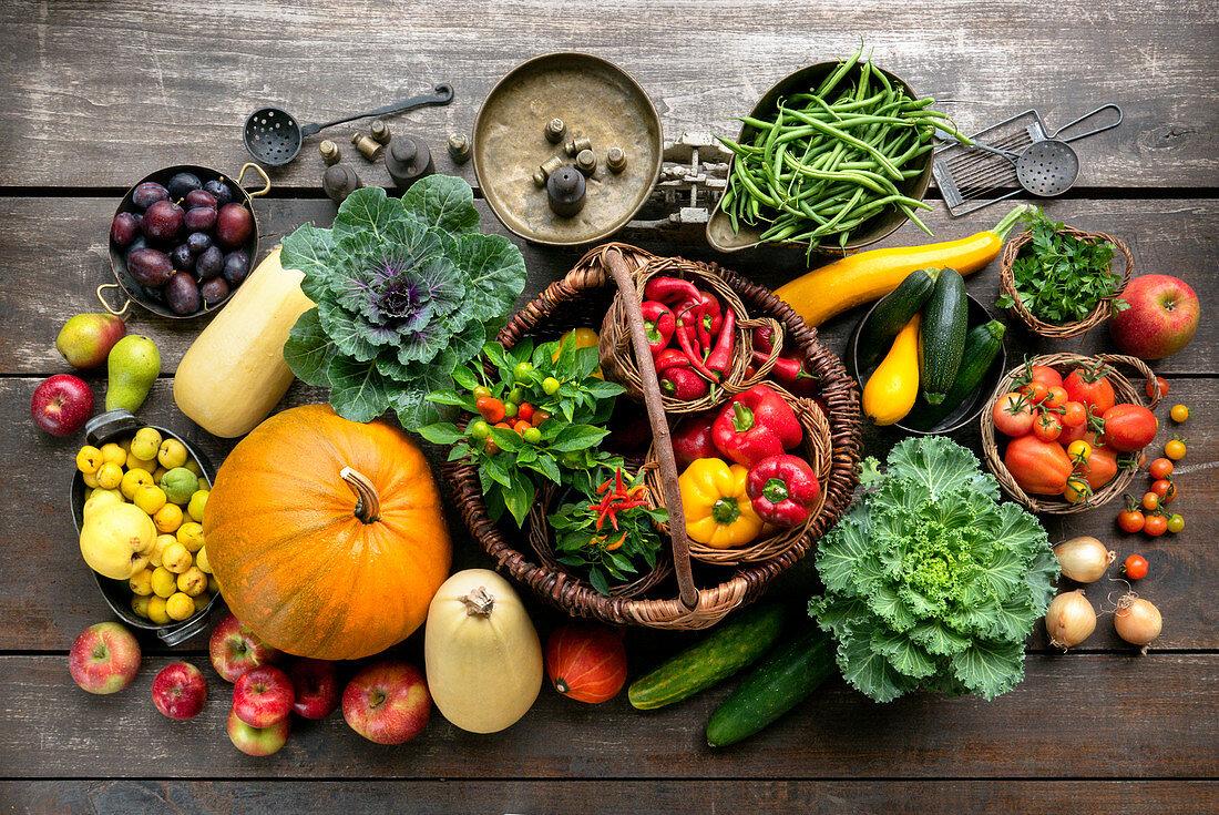 Autumn vegetables and fruit still