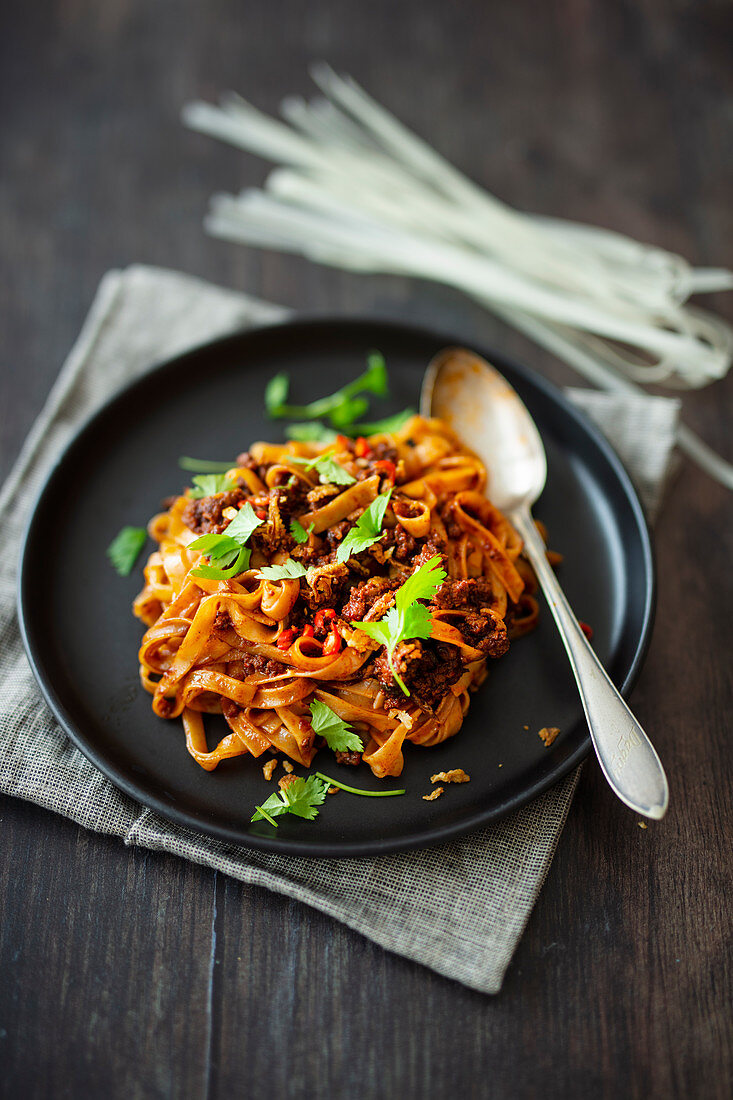 Flat rice noodles with hoisin minced meat, chili and fried onions (Asia)