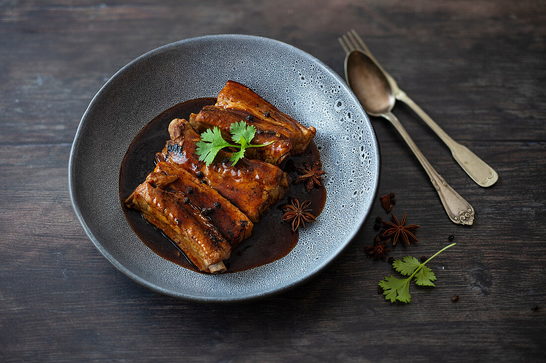 Thai pork ribs with anise, peppercorns, garlic and coriander