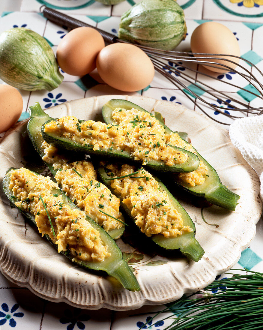 Zucchini with scrambled egg filling