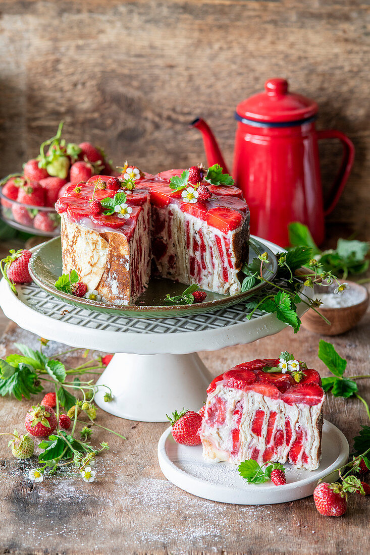 Crepe cake with strawberries