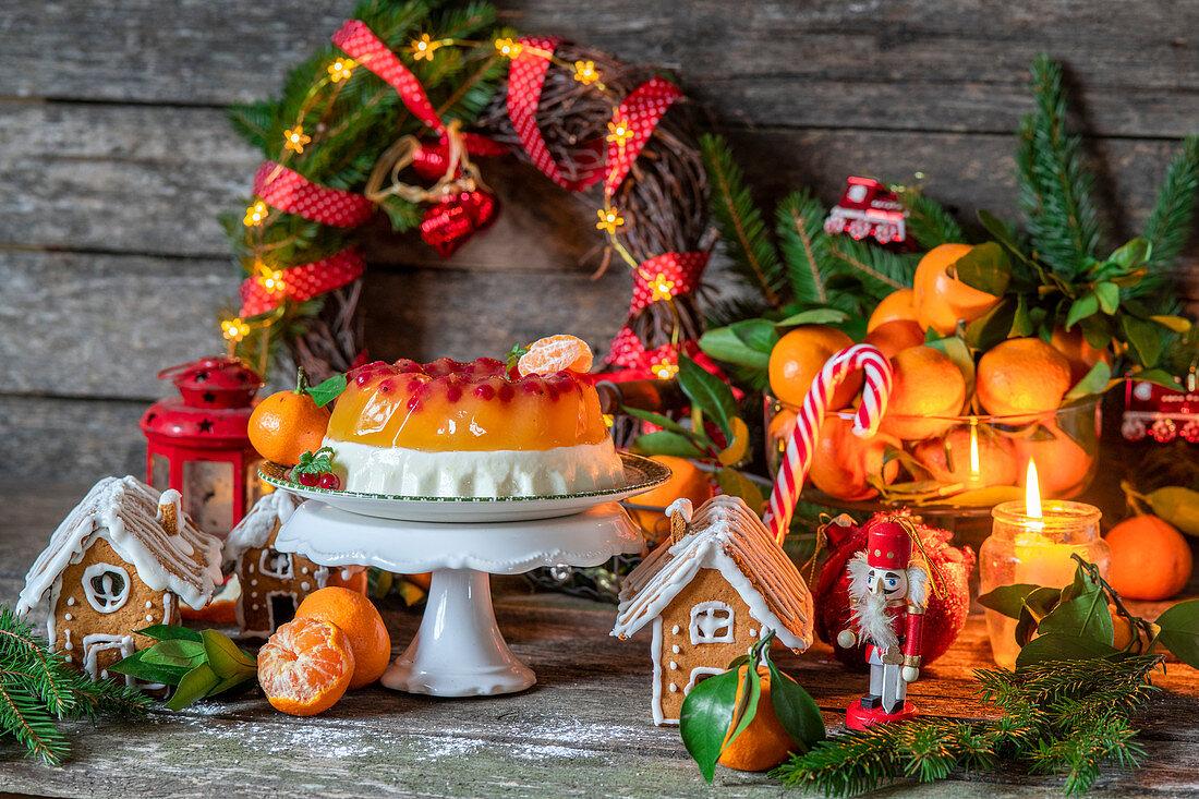 Mandarin cream jelly cake