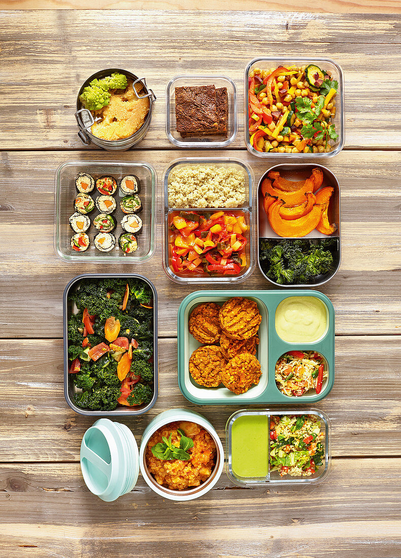 Various dishes in storage boxes (Meal Prep)