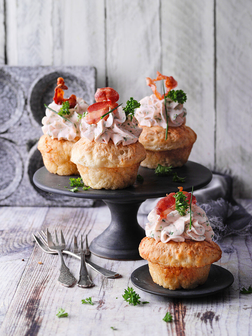 Mixed cupcakes with herb and garlic topping
