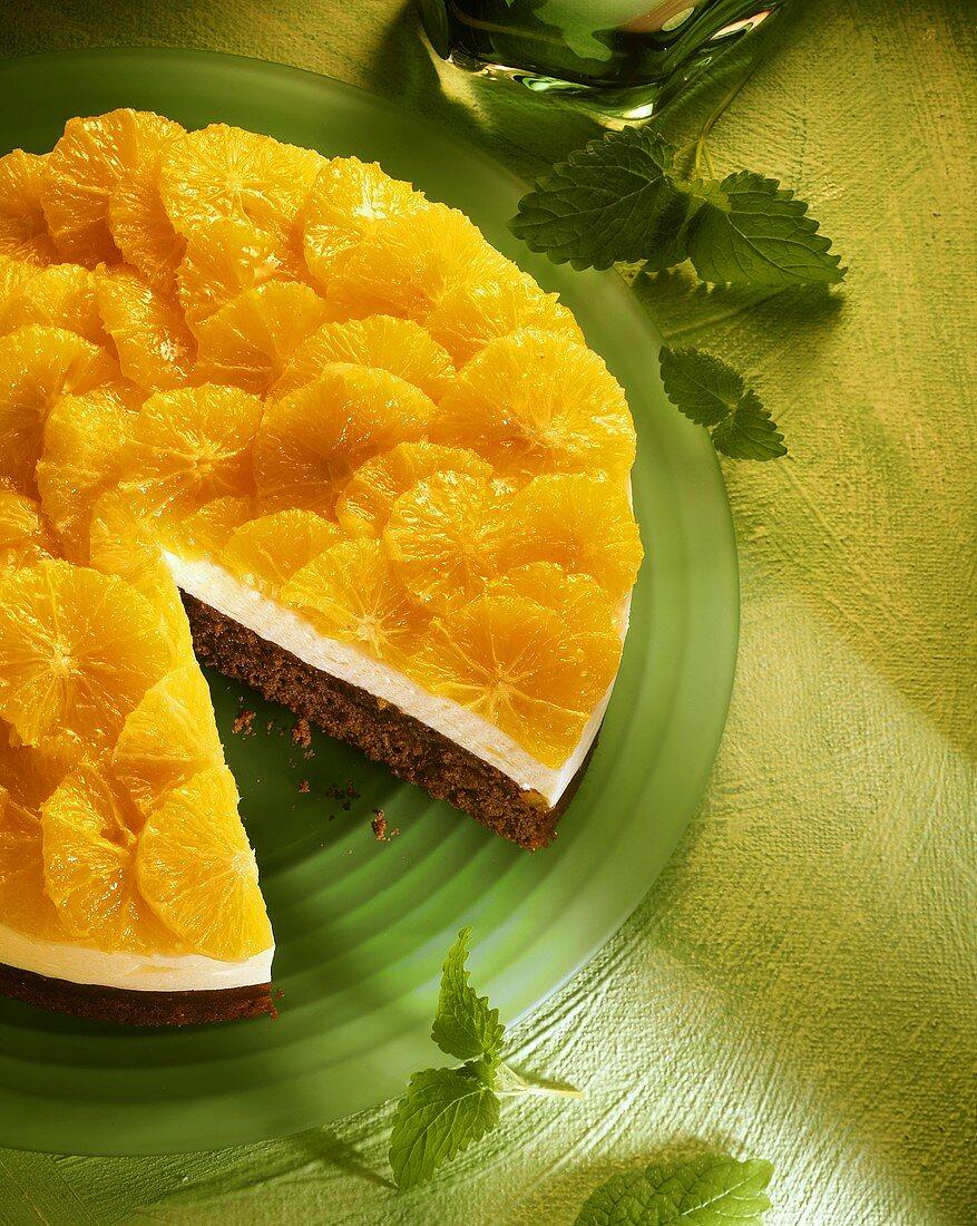 Orange gateau, a piece cut