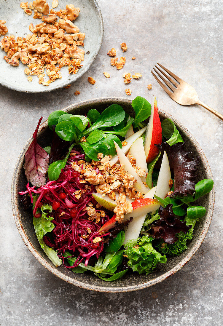 Winter salad bowl with marinated red cabbage
