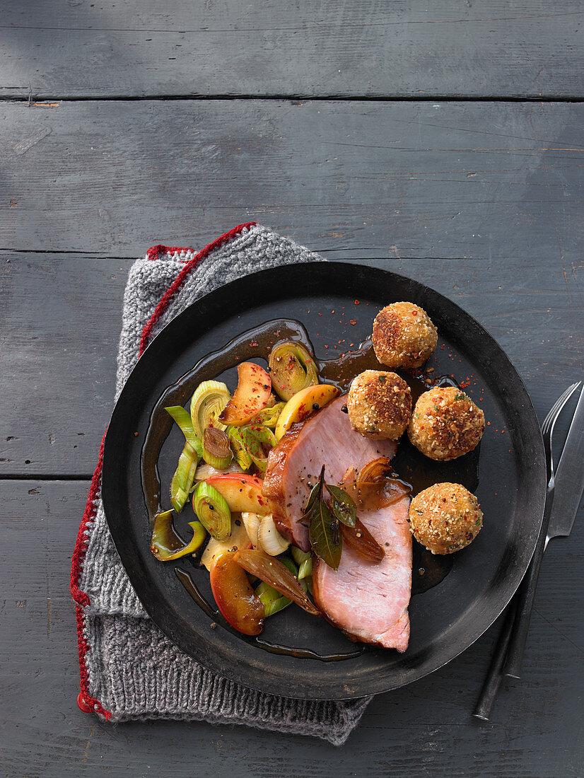 Kasseler meat with roasted lentil dumplings