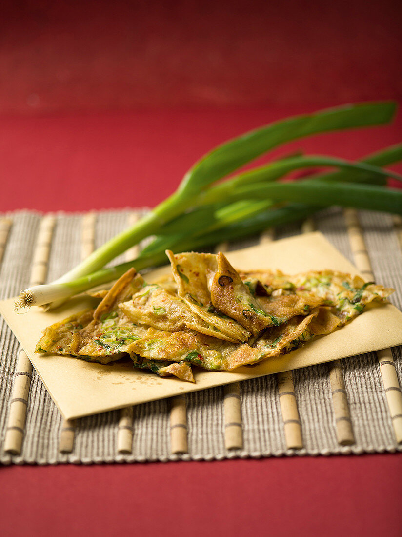 Chinese egg pancakes with spring onions
