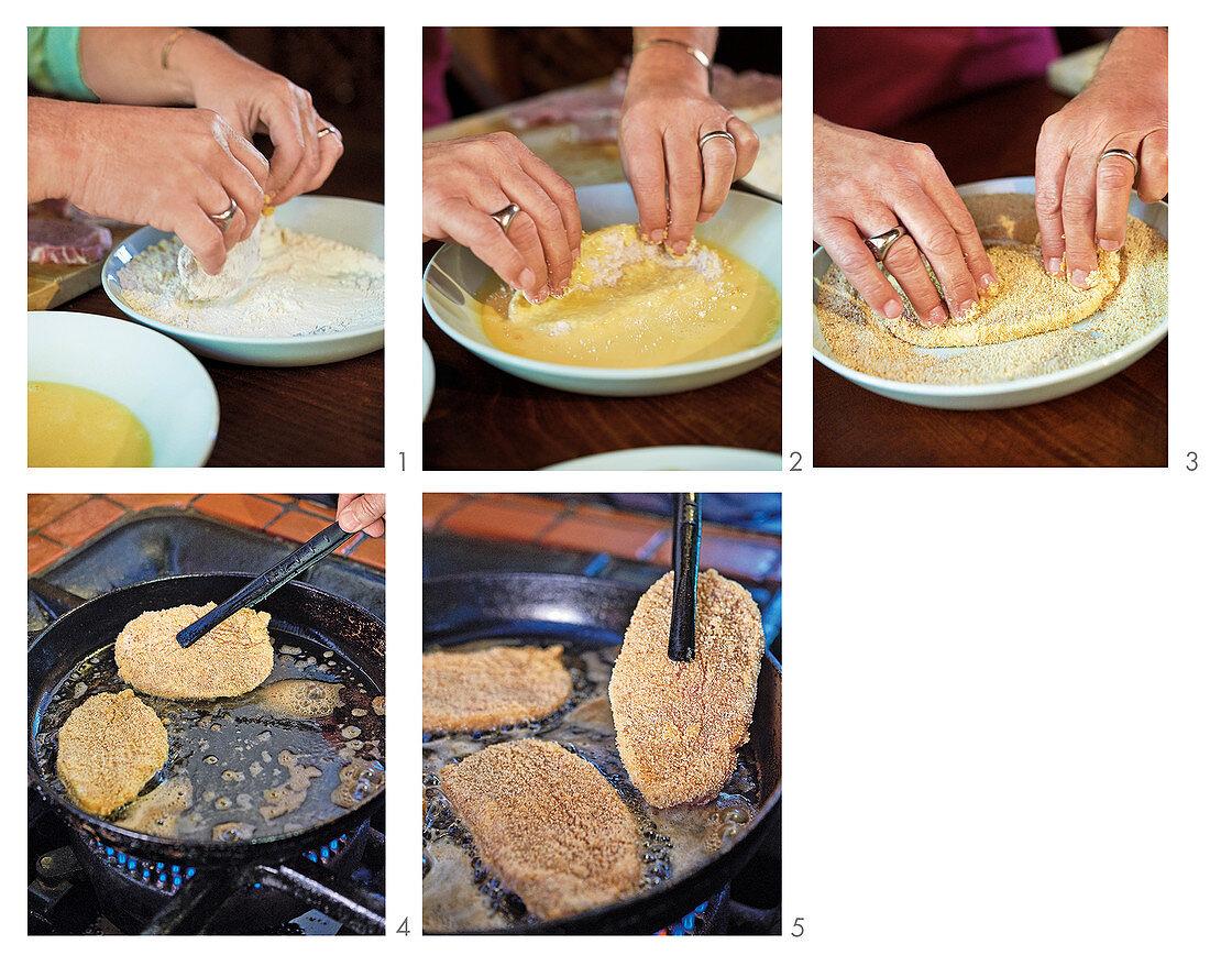 Breading and frying Wiener Schnitzel