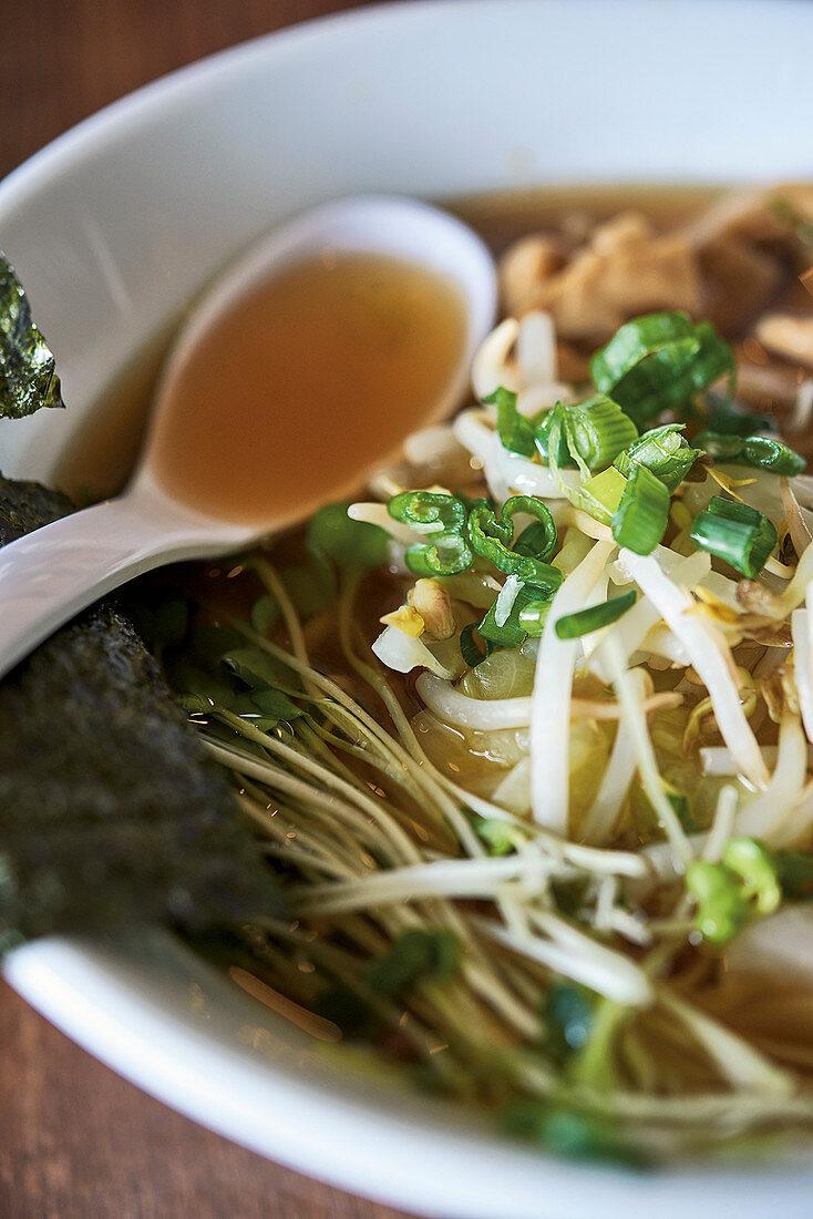 'Asia Hot Pot' with kombu, pak choi, udon noodles and shiitake