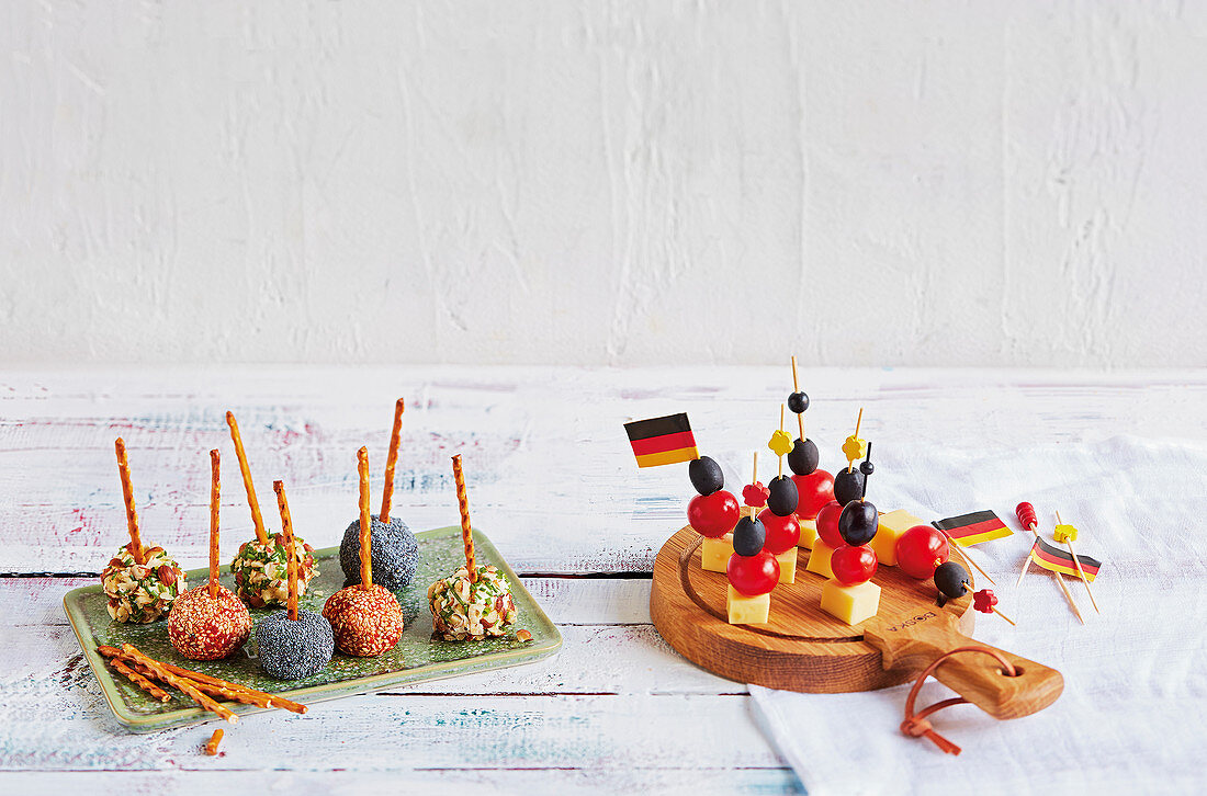 Cream cheese pops and 'black-red-and-gold' cheese sticks (football evening)