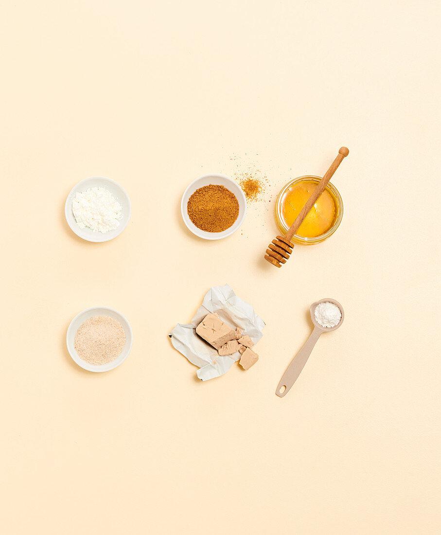 Cornstarch, sweetener, binding agent, raising agent