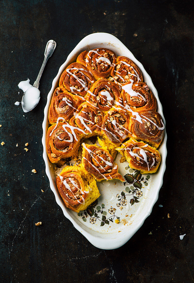 Pumpkin sticky buns with walnuts