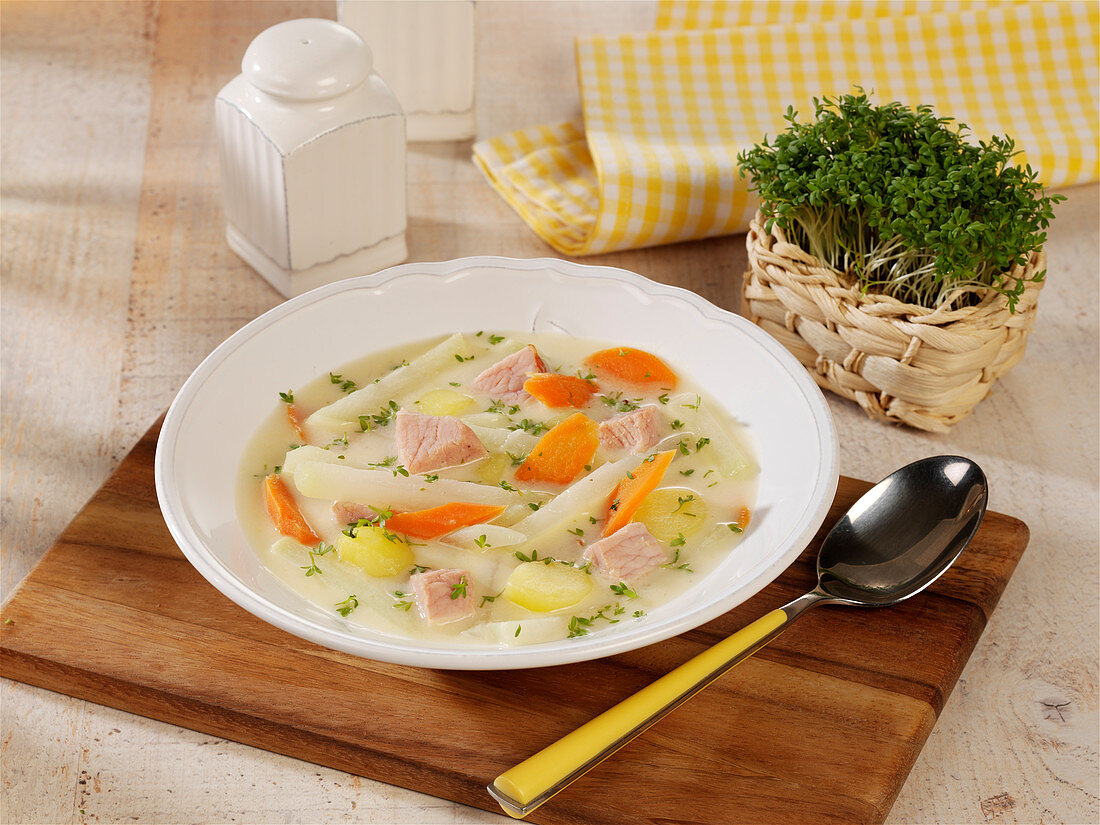 Spring stew with gammon and cress