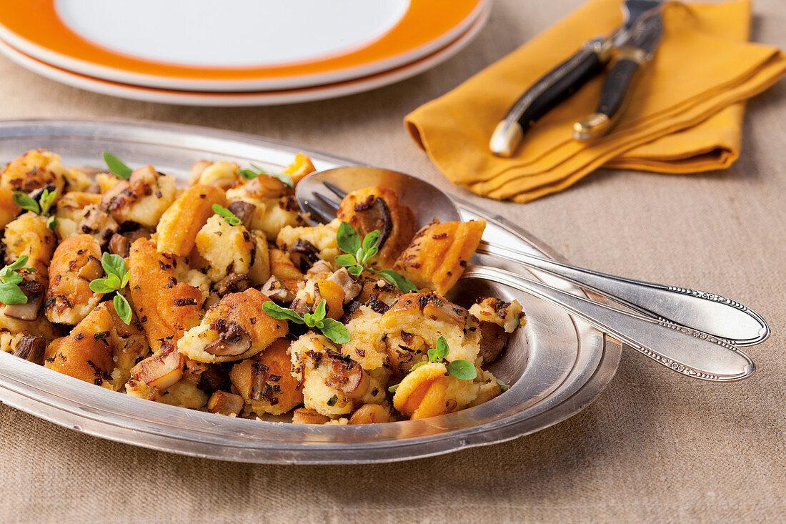 Porcini mushrooms with marjoram