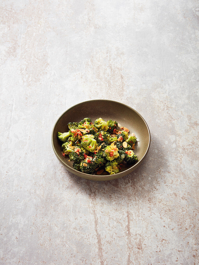 Broccoli with almond and garlic butter