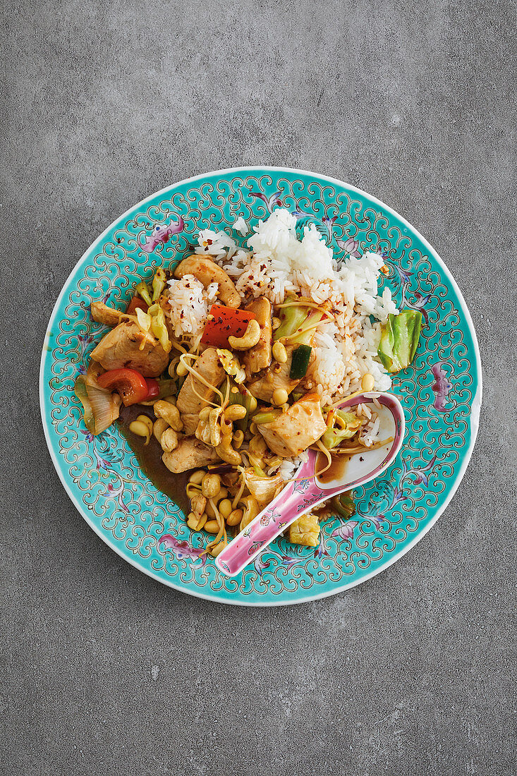 Fried hoisin chicken breast with stir-fried vegetables and scented rice