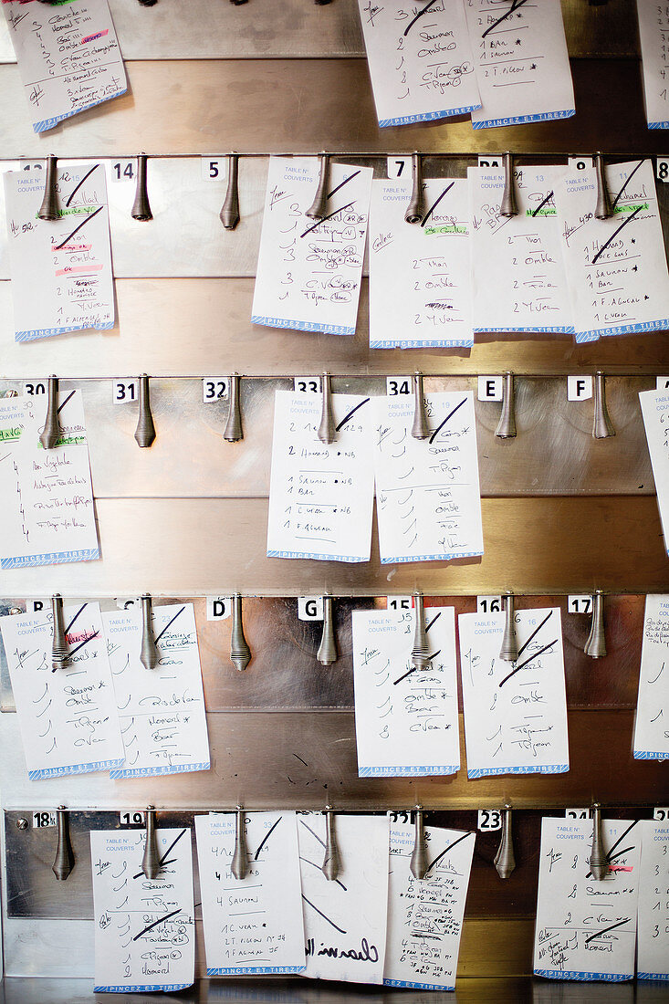 Order on scraps of paper on a board in a restaurant