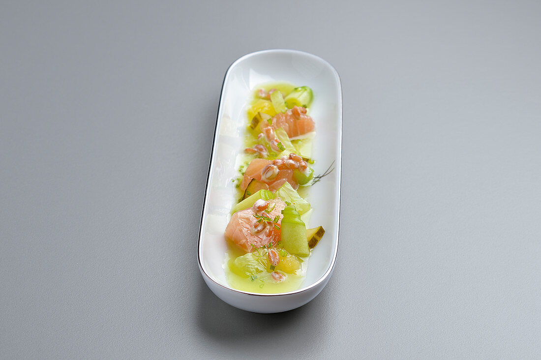 Sea trout with variations of cucumber, and apple and spruce shoot juice