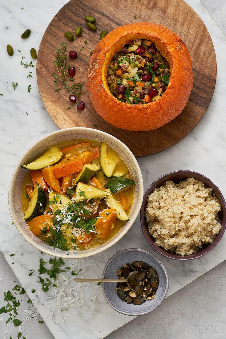 Pumpkin curry and stuffed pumpkin